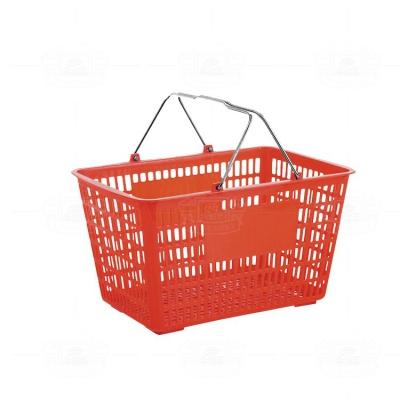 Plastic shopping basket (iron handle red)
