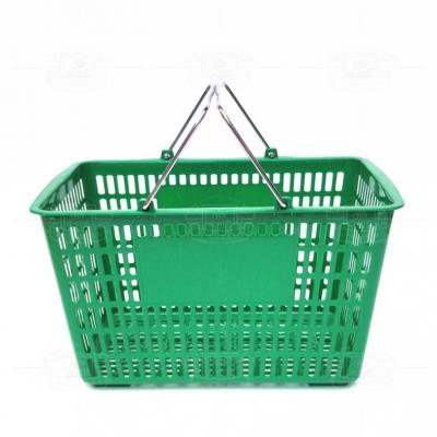 塑料购物篮(铁提手绿色)