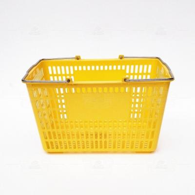 塑料购物篮(铁提手黄色)